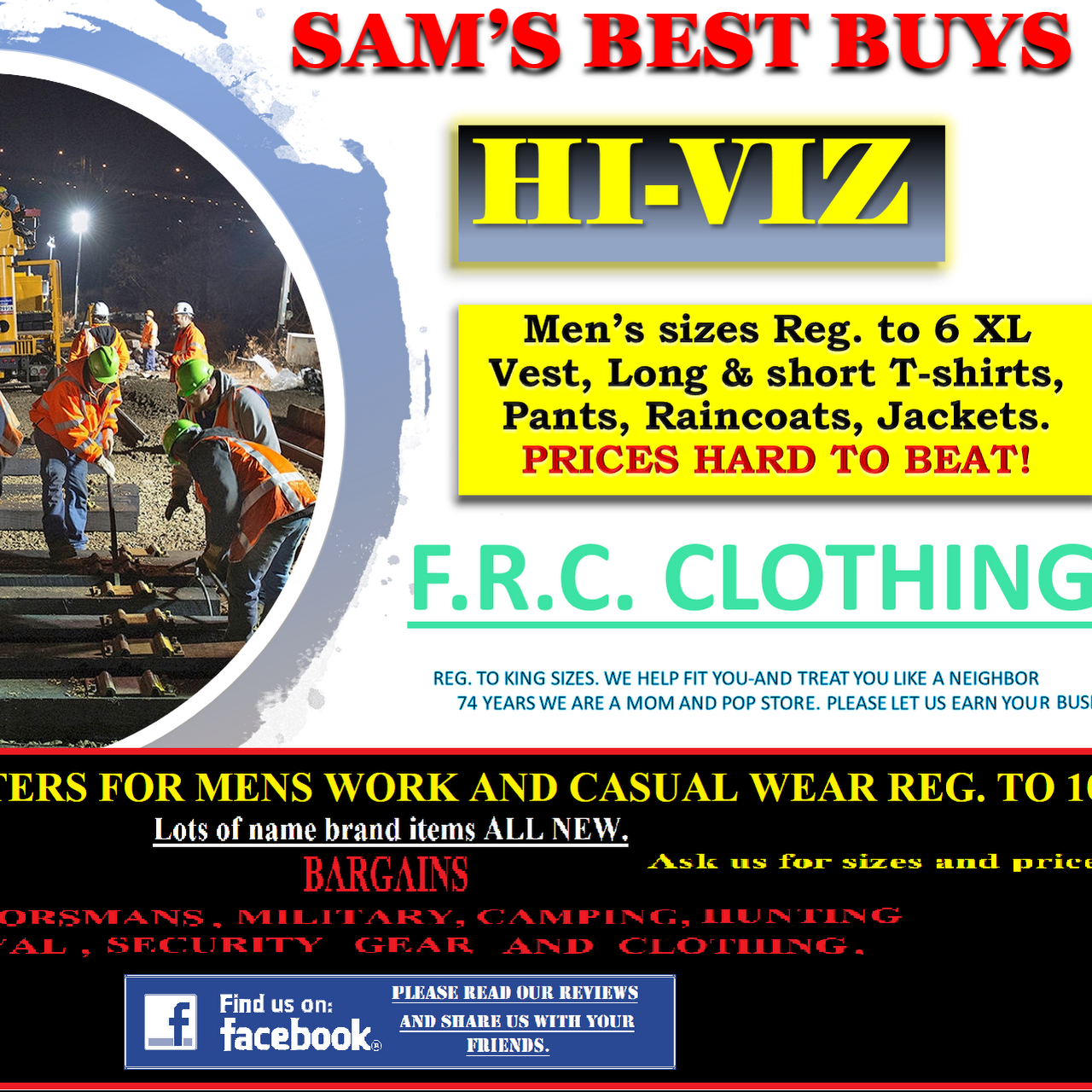 Sam's Best Buys Big and tall clothing up to 10 xl & best