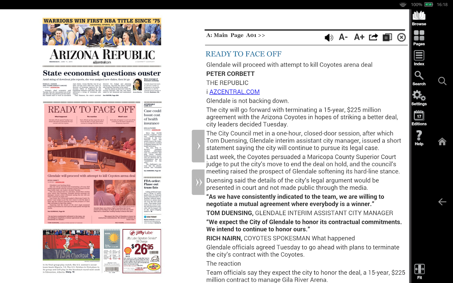 The Arizona Republic Print Edition- screenshot