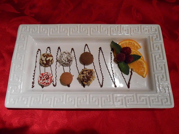 The truffles can be arranged on a cold serving tray as desired.