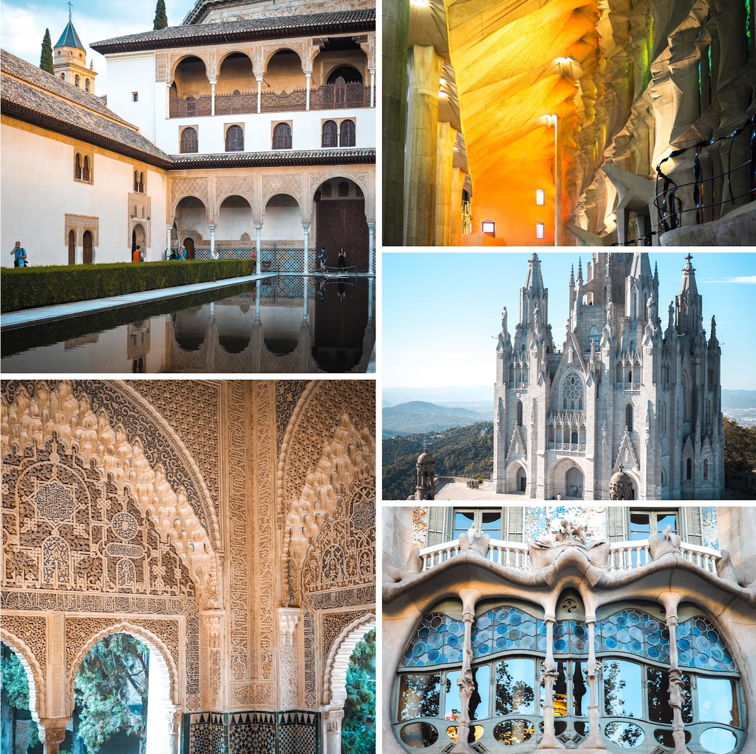 Spain highlights: Alhambra palace, la familia sangrada, Gaudi
