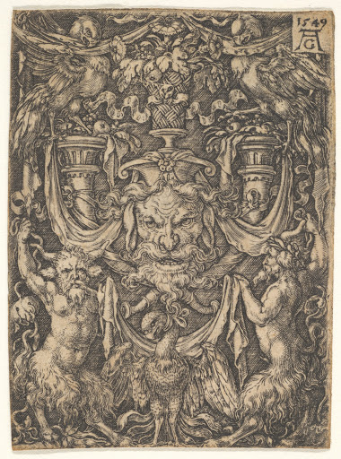 Ornamental Design with a Mask and an Eagle between Two Fauns below
