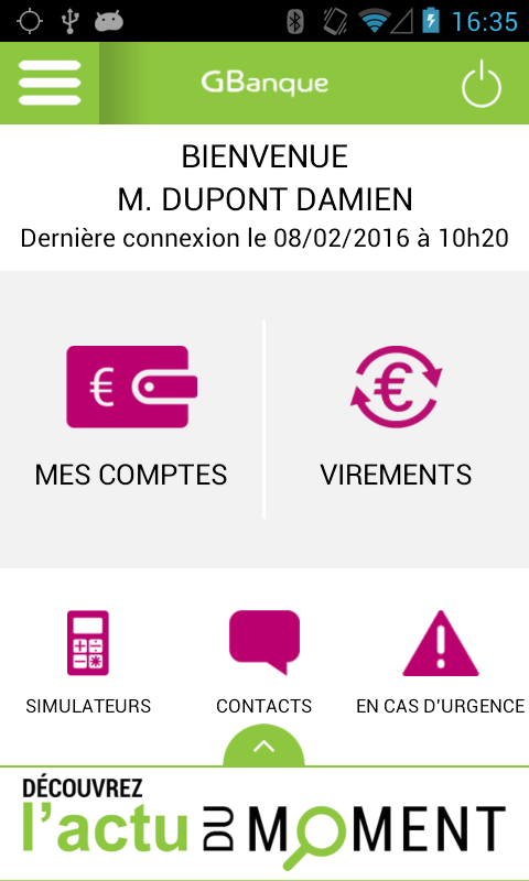 Application mobile GBanque- screenshot