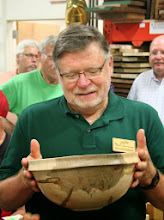 Photo: Richard Webster shows his ambrosia maple salad bowl with great character that you can see here.