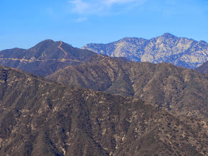 Photo: Zoomed-in view northwest toward Pine Mt. (4539') and Twin Peaks (7596'/7761')