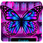 Pink Neon Butterfly Keyboard Icon