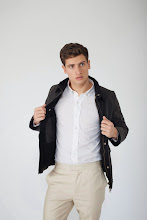 Photo: Black field jacket in wax cotton with sand chino