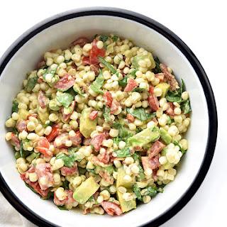 Avocado Bacon Tomato Spinach Corn Salad.