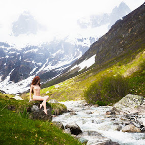 Heidi by Carl0s Dennis - Nudes & Boudoir Artistic Nude ( mountain, nude, red hair, female, green, landscape, heidi, river,  )