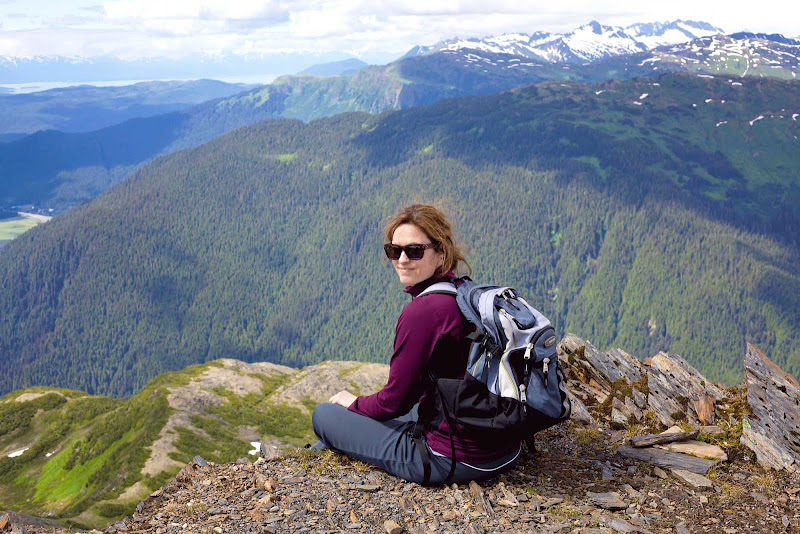 A hiker at Mount Juneau, which offers views of downtown Juneau.