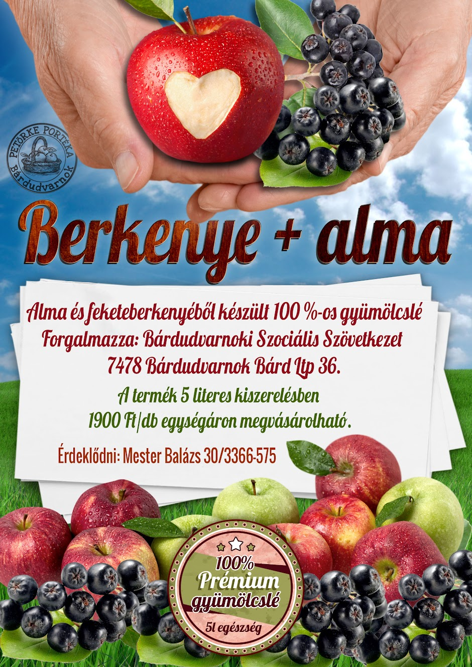 Berkenyelé és almalé plakát 2016