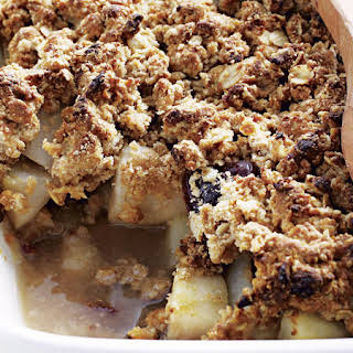Pear-Date Crumble with Honey-Oat Topping.
