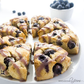 Glazed Blueberry Scones (Paleo, Low Carb)