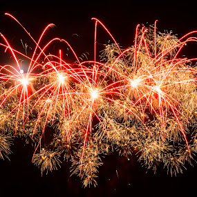 St Just Fireworks by Sarah Tregear - Abstract Fire & Fireworks ( firework, st just, fireworks, night, pretty, cornwall,  )