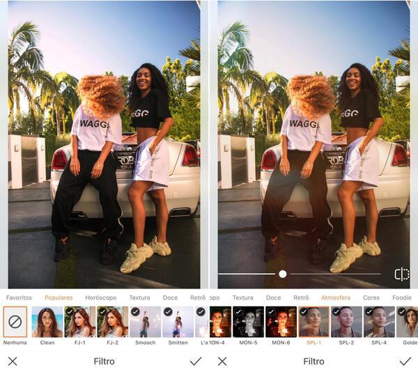 Foto de duas amigas, com várias Palmeiras atrás, sendo editada pelo AirBrush