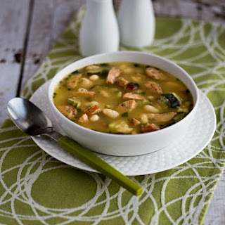 White Bean Soup with Turkey Italian Sausage, Zucchini, and Basil