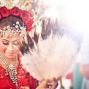 Once In A Lifetime Moment by Dee S. Alkhatib - People Portraits of Women ( white, malay, shine, feathers, women, fan, portrait, red, jewellery, wedding, roses, lady, java, flares, peacock,  )