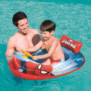 Colac copii cu volan - barca gonflabila Spiderman 112 x 71 cm