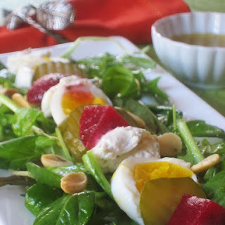 Pickle Lover's Salad with Hard-Boiled Eggs and Farmer's Cheese.