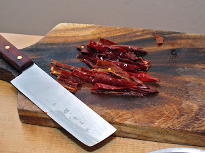 Photo: softened dried red chillies ready for mincing