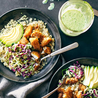 Spicy Fish Taco Bowls with Cilantro Lime Slaw