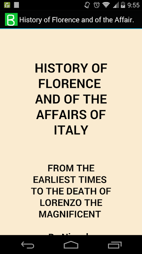 Florence and Affairs of Italy