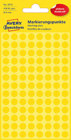 Etikett  8mm rund gul   416/fp