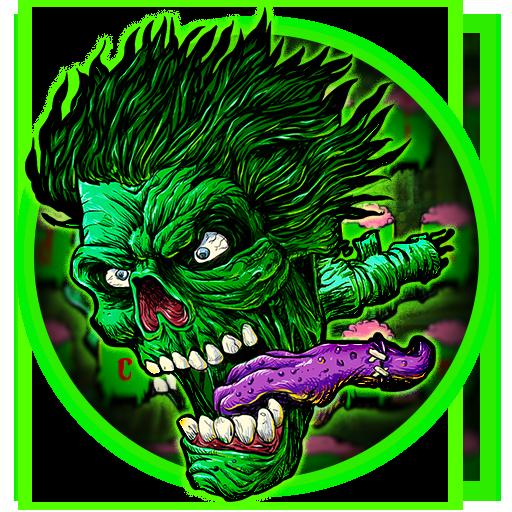 Green Zombie Skull Graffiti Keyboard  Theme