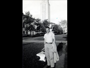 Photo: Patrick Alonzo Tillery with University of Texas tower in background. 1953