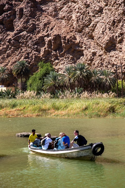 wadi w Omanie, Wadi Ash Shab, przeprawa łódką