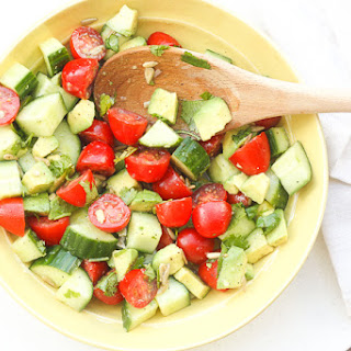 Simple Tomato Cucumber and Avocado Salad.