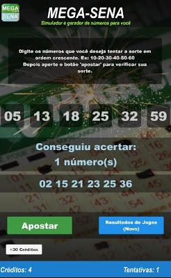Simulador da Mega-Sena - screenshot