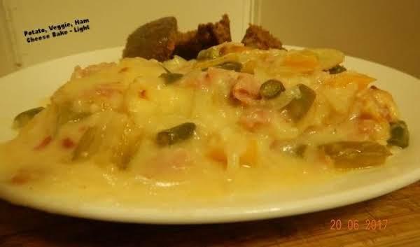 Potato, Veggie, Ham And Cheese Bake - Light