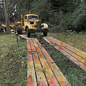 Dilapitated by Pam Blackstone - Digital Art Things ( antique truck, old vehicle, jalopy, grass, painted boards, old truck, yellow truck, boards,  )