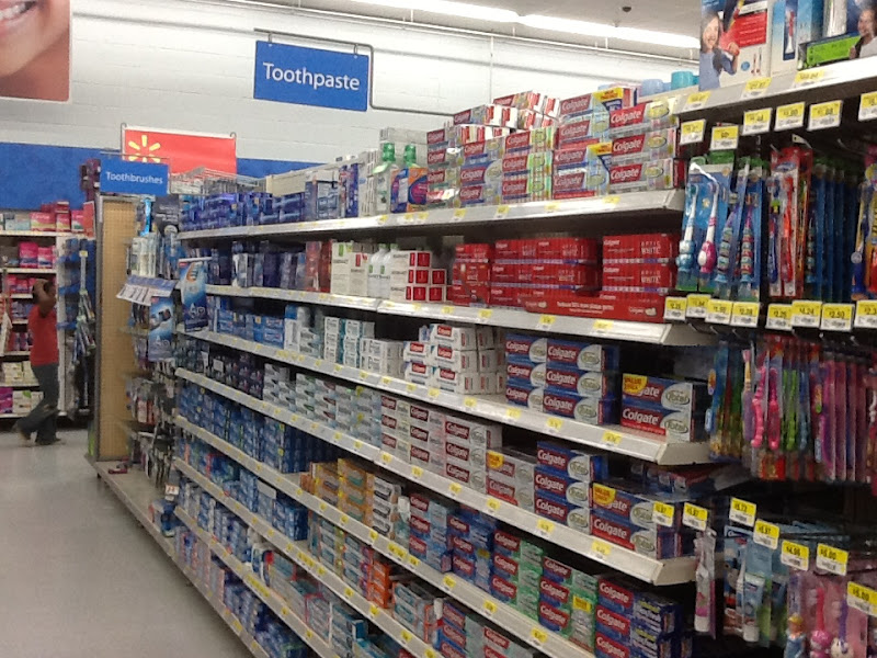Photo: I'm here to buy a present for my brother's baby girl but I have to stop for some toothpaste first...