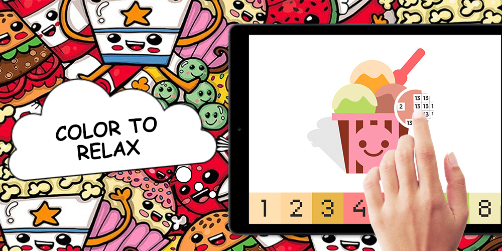 Kawaii Food Pixel Art Coloring Color By Number Android