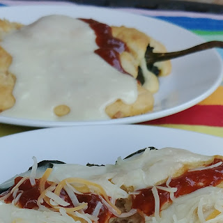 Baked Open Faced Ham and Cheese Chiles Rellenos.