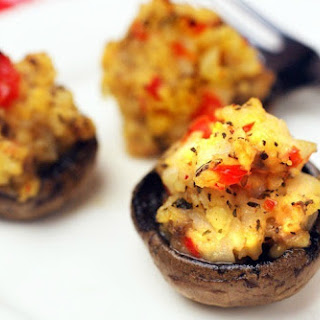 Gluten Free Crab Stuffed Mushrooms Appetizers.