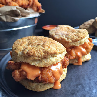 Buttermilk Fried Chicken on a Buttermilk Biscuit with Sriracha/Lime Mayo.