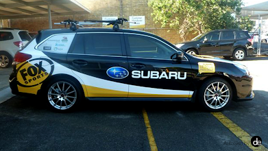 "Photo: It's nearly Le Tour time again and Subaru are promoting Fox Sports ""Le Tour Prologue"" on their cars which we decalled in Melbourne and Sydney yesterday. From their twitter page ... ""FoxSports' nightly Tour de France panel show, right before the live coverage starts! Ed Philips, Nick Gates & Bridie O'Donnell"""