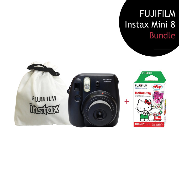 [Bundle] FUJIFILM Instax Mini 8 Camera (Black) + Hello Kitty Film Pack + Instax Pouch by My Pocket Net Sdn Bhd