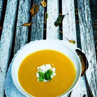 Indian Pumpkin Soup with A Spicy Coconut Chutney.