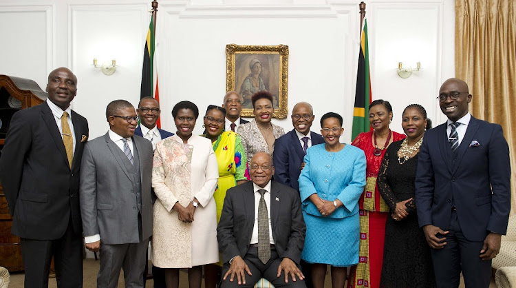President Jacob Zuma with new or redeployed members of his cabinet last month. Picture: GCIS