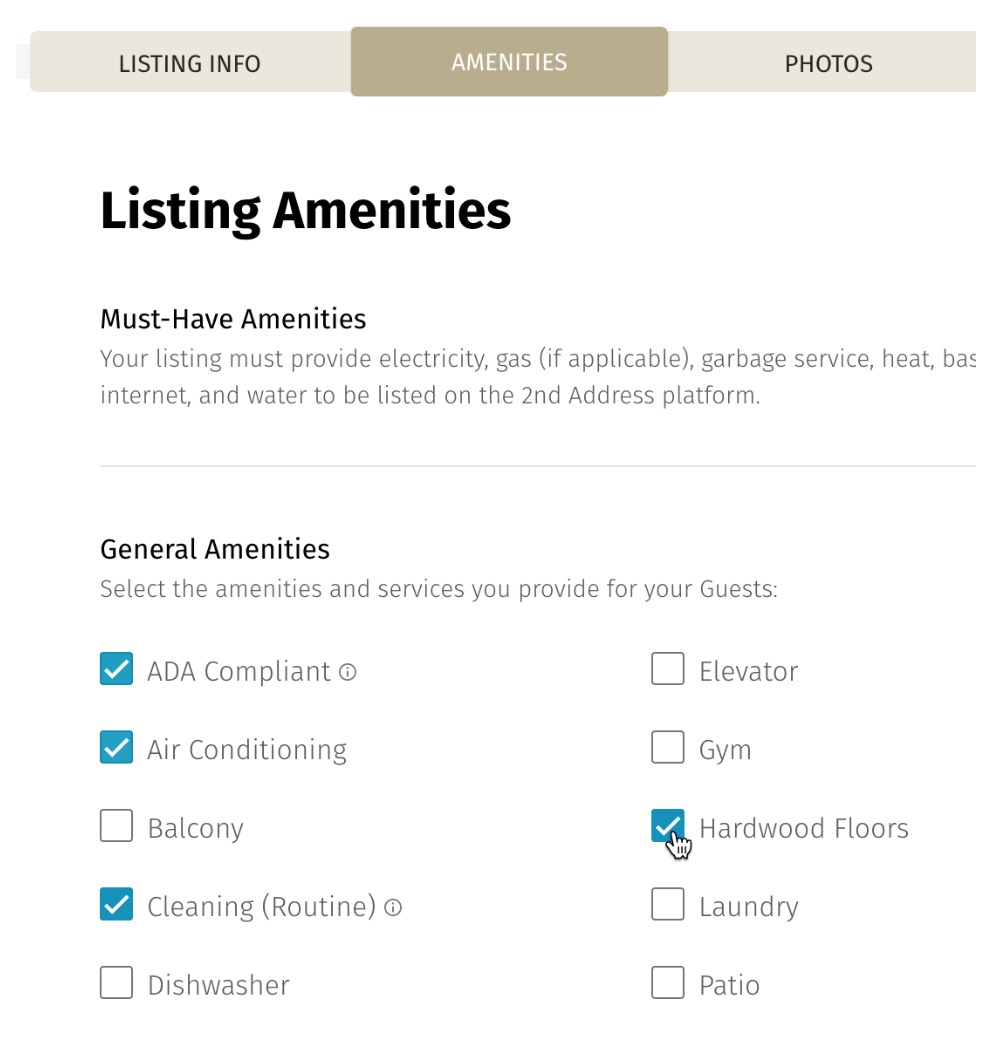 2nd Address listing amenities