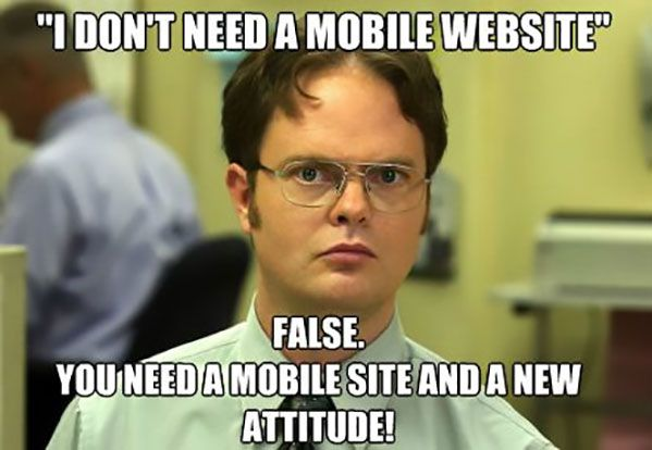 A man at the office judging people who say that they don't need a mobile website and asking them to get a new attitude.