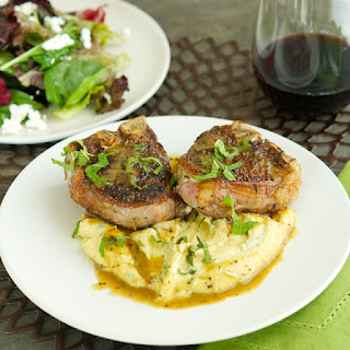 Spiced Lamb Chops with Chickpea Ramp Purée.