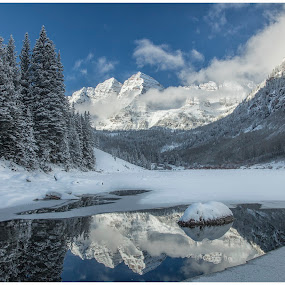 Fresh Snow in the Rockies by George Kremer - Landscapes Mountains & Hills ( pond, mountains, still, mirror, reflection, rockies, ice, clouds, colorado, water, beautiful, blue, snow, skies, fresh, landscape, snowy )