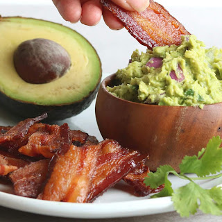 """Bacon """"Chips"""" and Thick Guacamole Dip."""