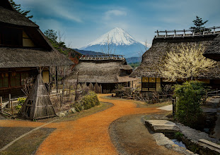 Photo: Approaching Mt. Fuji  I spent today on a quest to see Mt. Fuji! I've always wanted to visit the amazing area around the famous volcano, but never had the chance until now. I was so excited! We started out the journey here in this little village of Saiko. After taking some photos, we went inside one of these little buildings and up some small stairs to sit on the floor and eat some soba. It was a great start for the journey! :)