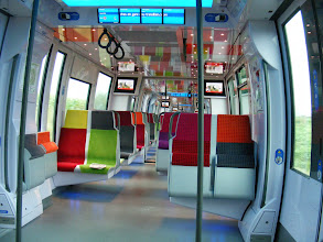 Photo: Friday's travels begin again at the Gare du Nord, but not on an RER line, but instead on this modern and colorful train on the Ile de France regional network, where I am headed to its last stop at Luzarches. I think I am one of only 3 people left on the train at that stop.