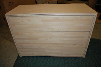 Photo: This is our unfinished 3 drawer dresser to allow our customers to finish to their unique decor